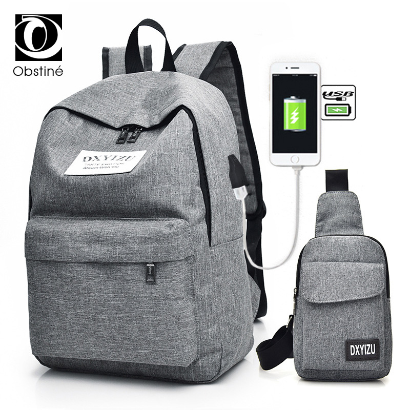 2pcs Set Backpack Female with USB Charger Backbag Women Schoolbag To School Back Pack for Teens Travel Backpacks for Men Woman