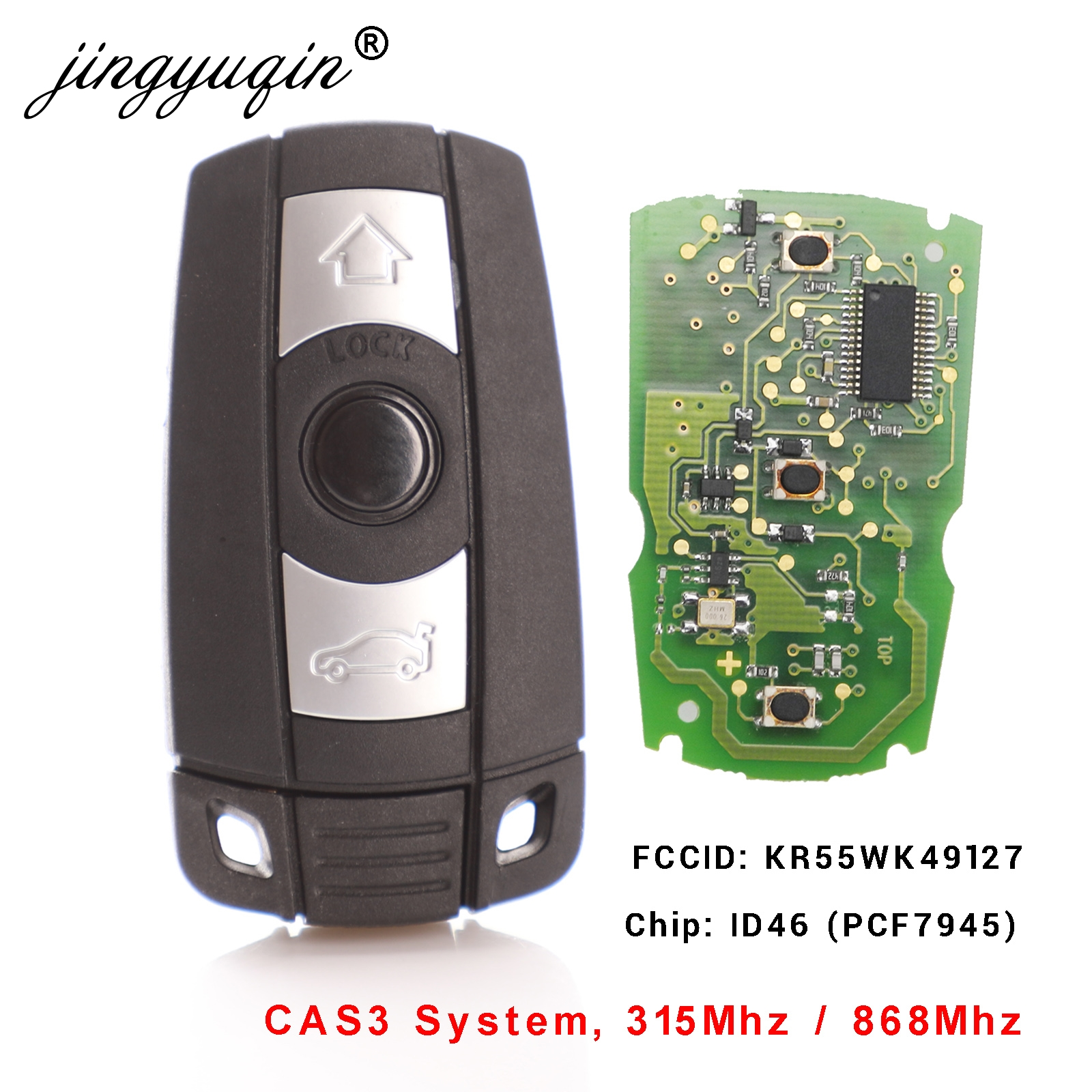 3 Button Remote Car Key 433MHZ ID7944 Chip for BMW 1 3 5 6 7 Series X5 X6 Z4