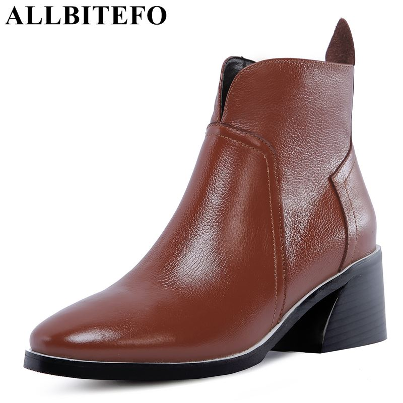 ALLBITEFO soft natural genuine leather women boots High quality ankle boots fashion Autumn Winter girls motorcycle boots shoes стоимость