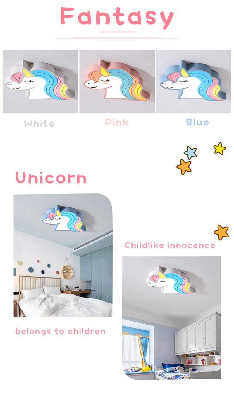HTB1T 8IaA9E3KVjSZFGq6A19XXa2 Unicorn kids room light led ceiling lights with remote control cartoon lampshade children room cute ceiling lamp deco child room