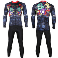 Free Shipping Zombie Animals Men Long Sleeve Cycling Jersey Breathable Bike Shirt Black Polyester Cycling Clothing