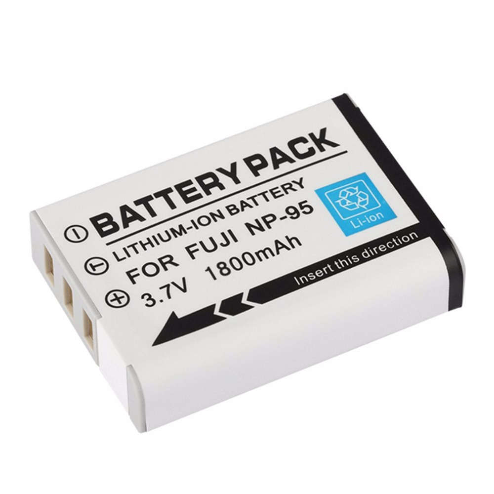 Large Capacity 1800mAh Lithium-Ion Rechargeble Battery Replacement Backup Battery for FUJI NP-95 Camera
