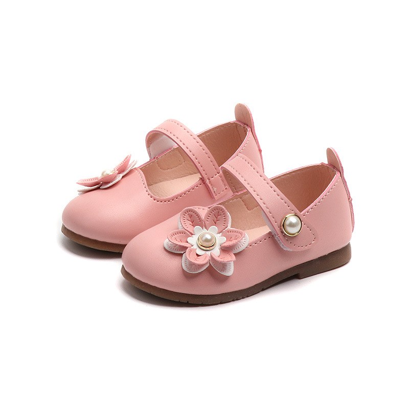 Female Infant Toddler Shoes Baby Girls Pu Leather Shoes Pink White Spring Autumn Soft Bottom Flowers Outdoor Children Kids Shoes