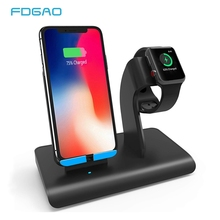 FDGAO 2 in 1 Wireless Charger For iPhone X XS Max XR 8 Apple Watch 4 3 Samsung S8 S9 10W Fast Charging Holder