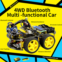 2017 New Year present!Keyestudio 4WD Bluetooth Multi-functional Car For Arduino Robot with LCD1602/Bluetooth