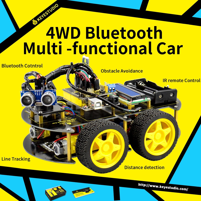 Keyestudio 4WD Bluetooth Multi functional DIY Smart Car For Arduino Robot Education Programming+User Manual+PDF(online)+Video