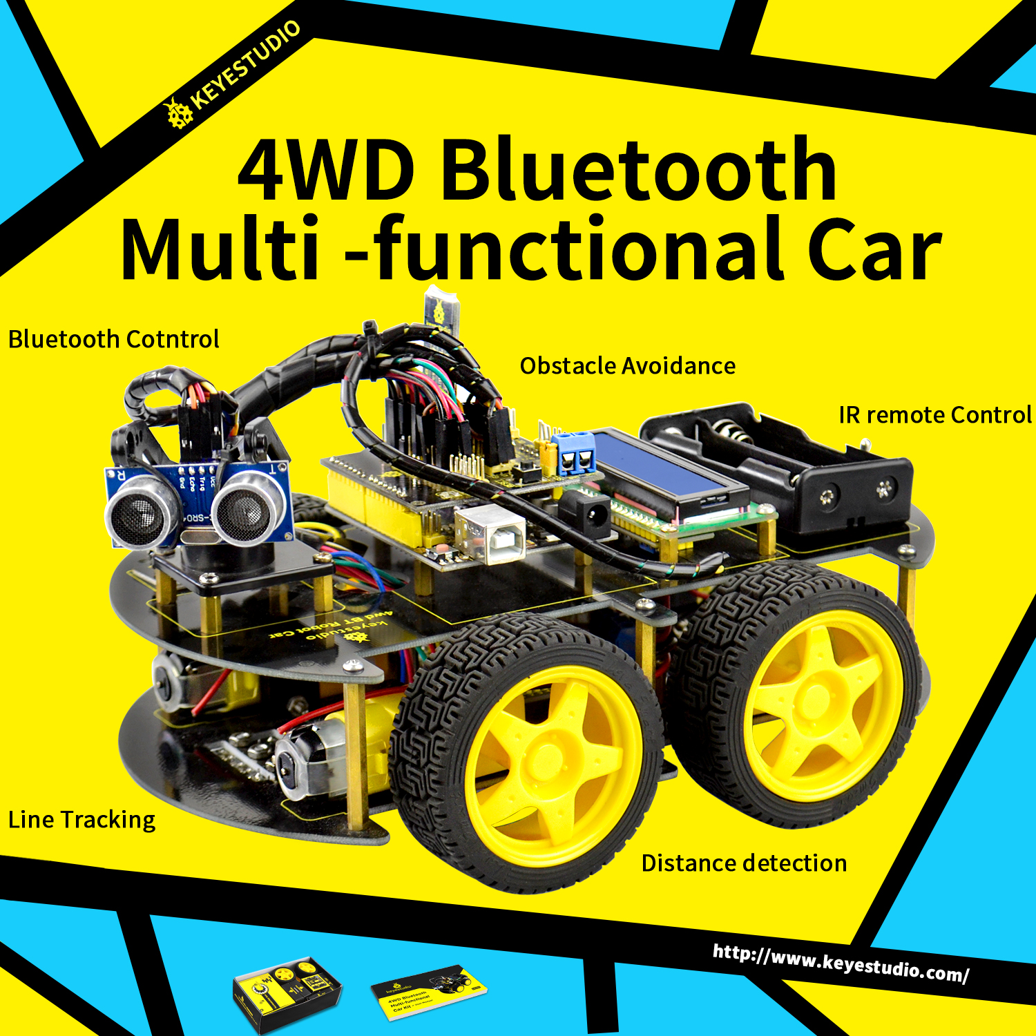 Avoidance Tracking Motor Smart Robot Car Chassis Kit 2WD Ultrasonic Arduino G HH