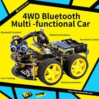 Keyestudio 4wd bluetooth multi-funcional diy carro inteligente para arduino robô educação programação + manual do usuário + pdf (online) + vídeo