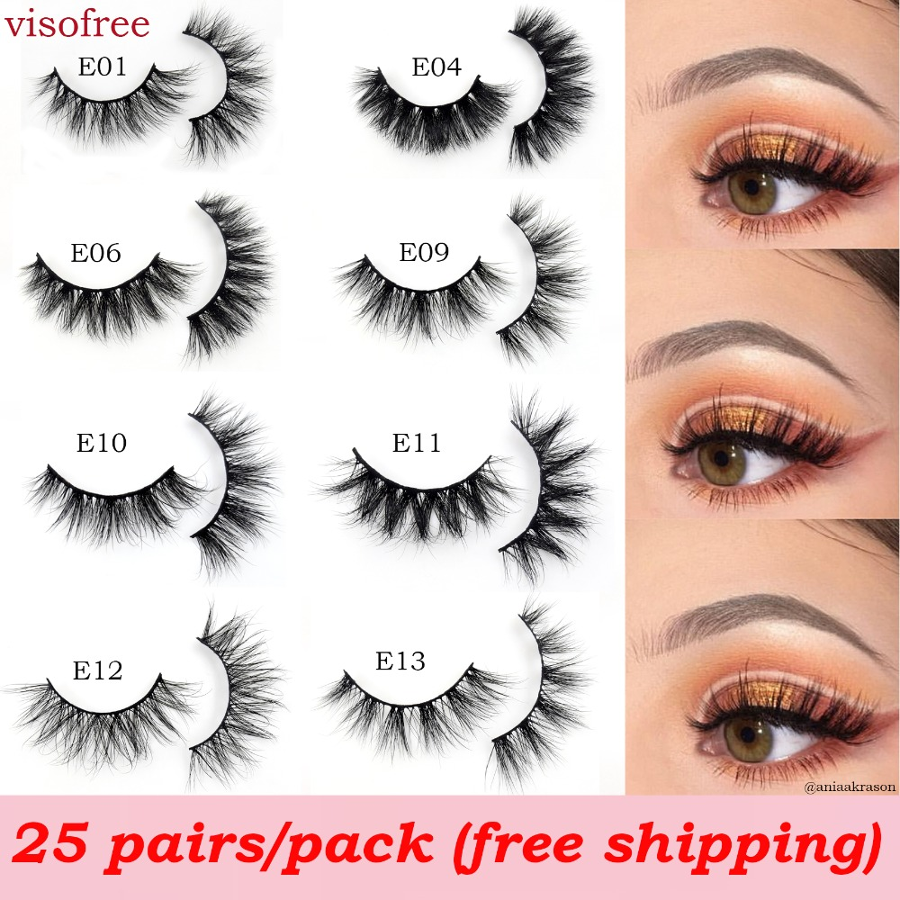 Visofree 25 pairs lot 3D Mink Lashes Natural False Eyelashes Fake Lashes Long Makeup Extension Eyelash