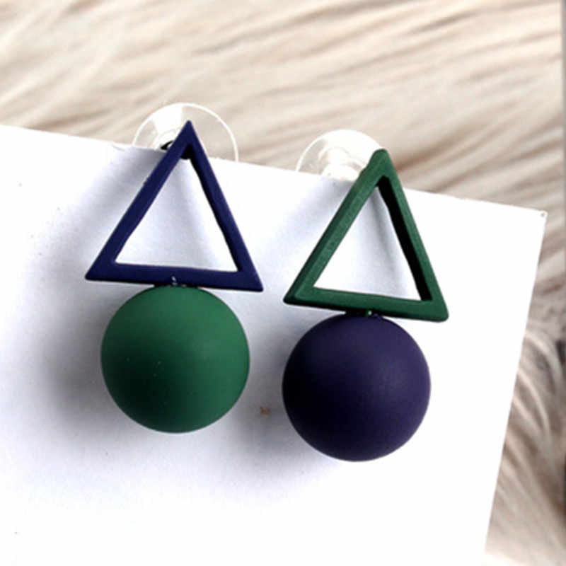 2019  New Fashion Hollow Square Pentagram Round Earrings Brincos Oorbellen Simple Mixed colors Ball  Earrings Women Jewelry