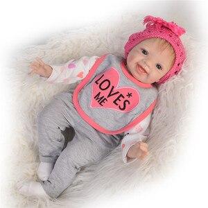 Реалистичная мягкая силиконовая кукла Reborn Baby Smile, кукла для новорожденных, подарок bebe, Кукла Reborn Bonecas, 22 дюйма, 55 см, игрушки для новорожденных