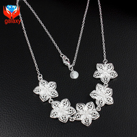 2015 New Arrival Wholesale 925 Sterling Silver Necklace For Women 5pcs Flower Wedding Jewelry Pendant Necklace