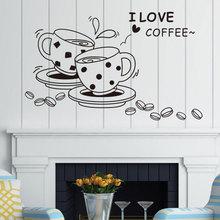 Pegatina de vinilo de cafetería para restaurante, decoración del hogar, pegatinas de pared, se pueden personalizar, CF27