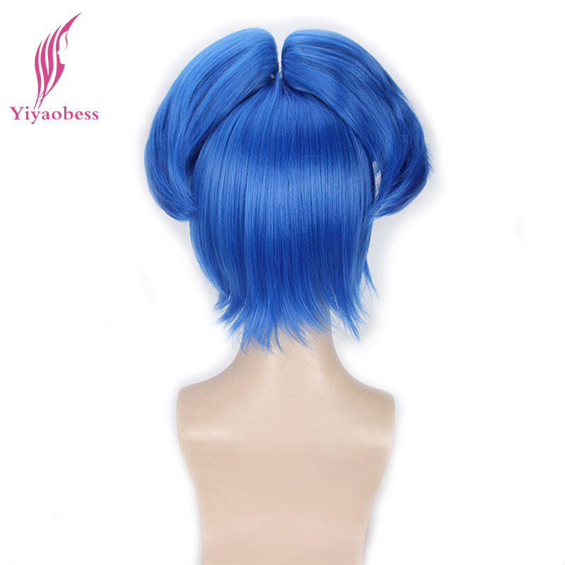 Yiyaobess 10inch Synthetic Touken Ranbu Online Short Blue Cosplay Wig Hair Straight Wigs With Claw Ponytail