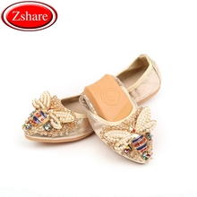 Plus Size 34-45 Designer Crystal Woman Flat Shoes Summer New Bee Rhinestone Ballet Women Shoes Ladies Flats Single Shoes Loafers
