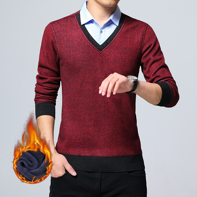 Knitted Sweater Premium Head-Knit Slim-Fit V-Neck Men Fall Stylish Brand Leisure-Set