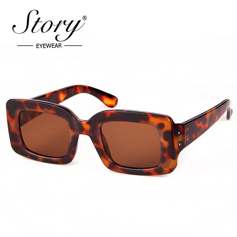 Historia 2018 Vintage Retro pequeño cuadrado gafas de sol de marca de diseñador de moda leopardo marco Rectangular gafas de sol de mujer UV400 tonos