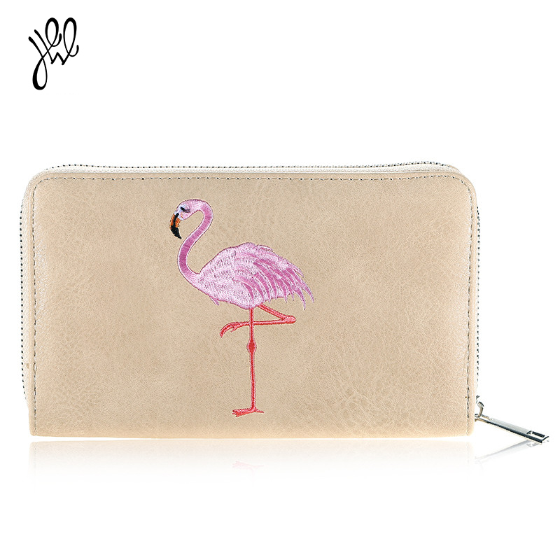 PU Leather Women Wallet New Flamingo Purse Brand Long Zipper Lady Purse Card Holder Lady Wallet Big Dollar Passport 500588 new brand candy colors leather carteira couro cards holder for girls women wallet purse plaid embossing zipper wallet