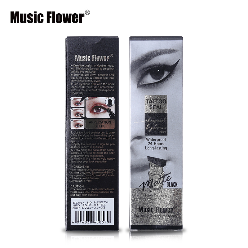 Music Flower Brand Eyes Makeup Tattoo Seal Liquid Eyeliner Pen Waterproof Matte Black Stamp Wanton Eye Liners 24hr Long-lasting Eyeliner