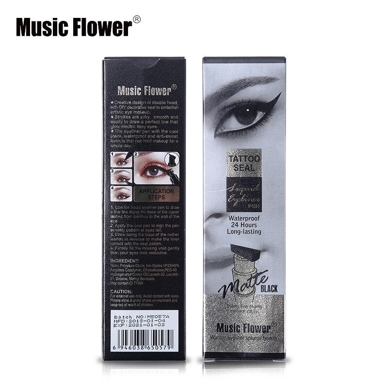 Eyeliner Beauty Essentials Music Flower Brand Eyes Makeup Tattoo Seal Liquid Eyeliner Pen Waterproof Matte Black Stamp Wanton Eye Liners 24hr Long-lasting