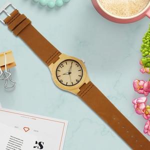 Image 4 - Bamboo Wood Watch Women watches ladies clock leather watchband Wristwatch Luxury Brand relogio femininos 2020 Quartz Watch