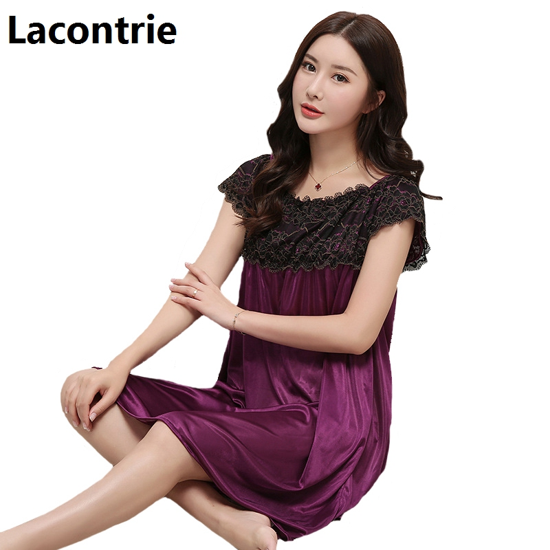 Lacontrie Plus Size Sleepwear S-4XL New Summer Nightdress Women Sexy Lace Stitching Medium Long Soft Nightgrowns Homewear N007 ...