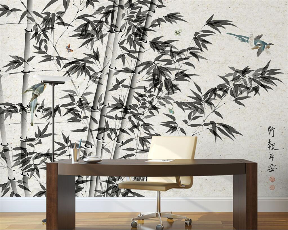 Beibehang Custom wallpaper black and white hand-painted bamboo magpie TV background wall living room bedroom mural 3d wallpaper custom mural wallpaper 3d non woven black and white flower hand painted paintings living room sofa tv 3d wall murals wallpaper