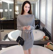 JOYINPARTY Women Sweater Dress Slim Batwing Sleeve Bodycon Dresses Elastic Dress Brief Black Knitted Dress vestidos with belt