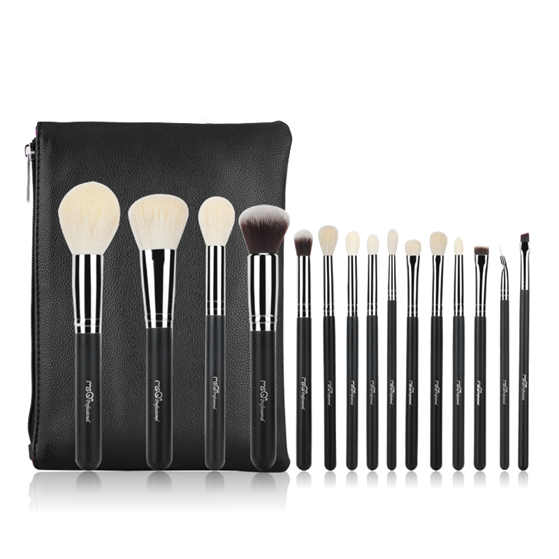 MSQ 15Pcs/1 Set Pro Makeup Brushes Set maquiagem Make up Brush Kit fiber Goat Hair With PU Leather Case Cosmetic Beauty tool msq professional 15pcs makeup brushes set soft synthetic hair natural wood handle with pu leather case for beauty fashion tool