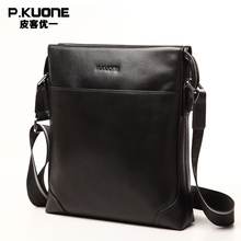 P.KUONE 100% Genuine Leather Handbag New Fashion Men Famous Brand Crossbody Bag Bussiness Casual Travel Messenger Shoulder Bag