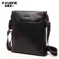P KUONE 100 Genuine Leather New Fashion Mens Contacts Briefcases Crossbody Messenger Bag Bussiness Casual Travel