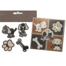 YaMinSanNiO 4 Pcs/lot Metal Cutting Dies Scrapbooking for Card Making DIY Embossing Cuts Craft Dogs Bone Claw Stencils