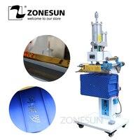 ZONESUN ZY 819SK 100*150mm Pneumatic Automatic Plastic box LOGO Creasing machine LOGO stamper Hot foil words stamping machine