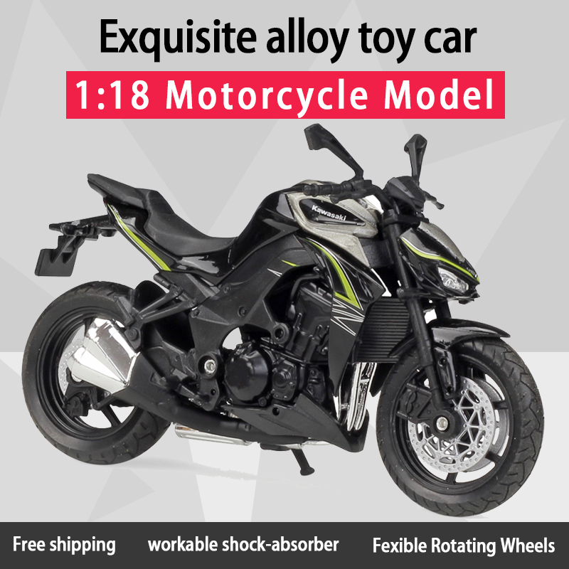 Welly 1:18 Kawwasaki Z1000 Alloy Diecast Motorcycle Model Workable Shork-Absorber Toy For Children Gifts Toy Collection