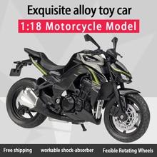 Модель мотоцикла Welly 1:18 Kawwasaki Z1000, отлитый под давлением, пригодная для использования, короткопоглотитель, игрушка для детей, подарки, коллекция игрушек
