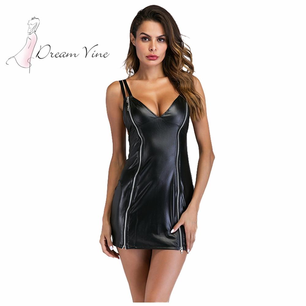 Sexy Dress Zippers Short Night Dance Robe Club Dress Women Summer Spaghetti Strap Dress Black Faux Leather Party Bodycon Dress