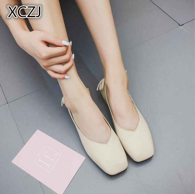 XCZJ 2018 new Korean version of the shoes square head shoes female flat bow grandmother shoes simple wild bean shoes 16cm fine with high heels female korean version of the sexy thin bow shoes round head shallow mouth shop shoes