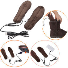 2019 New USB Electric Powered Plush Fur Heating Insoles Foot Care Tool Winter Keep Warm Foot Shoes Insole Health Care Heel Pad(China)