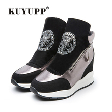 Women Boots Wedges Hide Heels Rhinestone Genuine Leather Boots Platform High Top Ankle Boots Double Zips Ladies Shoes Gold DX155