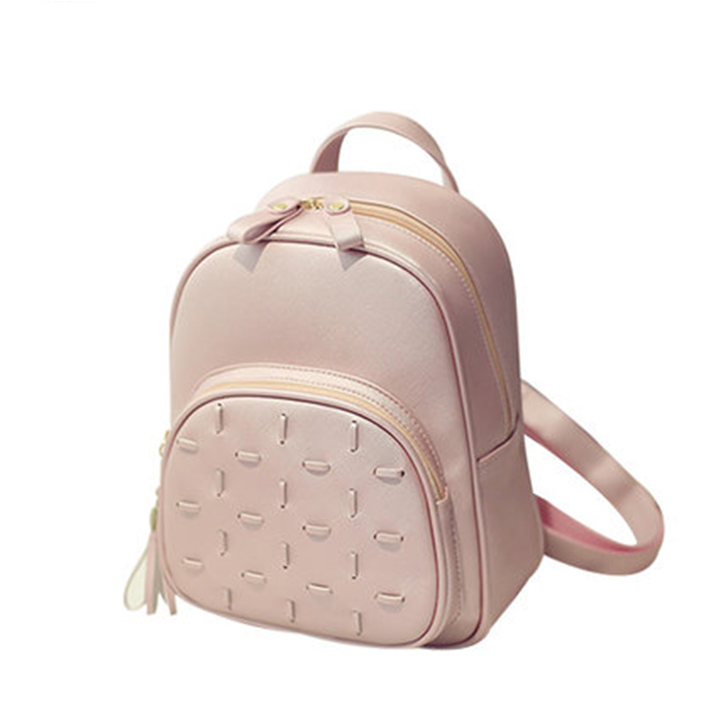 2016 New Fashion Backpack Simple Travel Backpack Pu Leather Women Bag Small Bag Student School Bags Leisure Backpack Bp0021