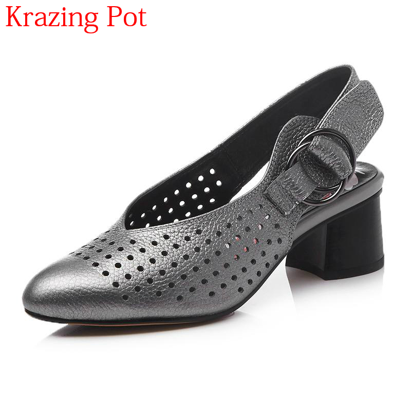2018 New Arrival Cow Leather Round Toe Med Heels Shallow Women Pumps Office Lady Princess Style Hollow Breathable Shoes L7f2