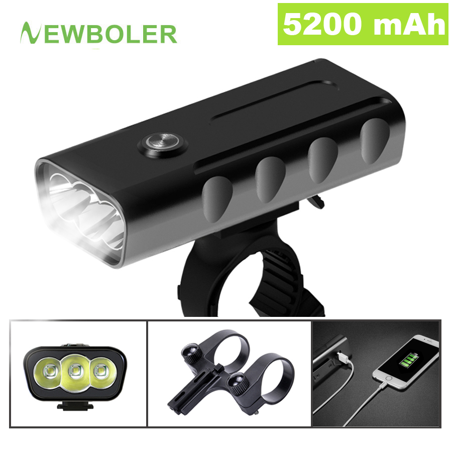 NEWBOLER 5200mAh Bike <font><b>Light</b></font> Kit <font><b>T6</b></font> L2 Flashlight For <font><b>Bicycle</b></font> 2400 Lumen <font><b>Led</b></font> Lantern USB Headlight Mount Bracket Cycle Fornt Lamp image