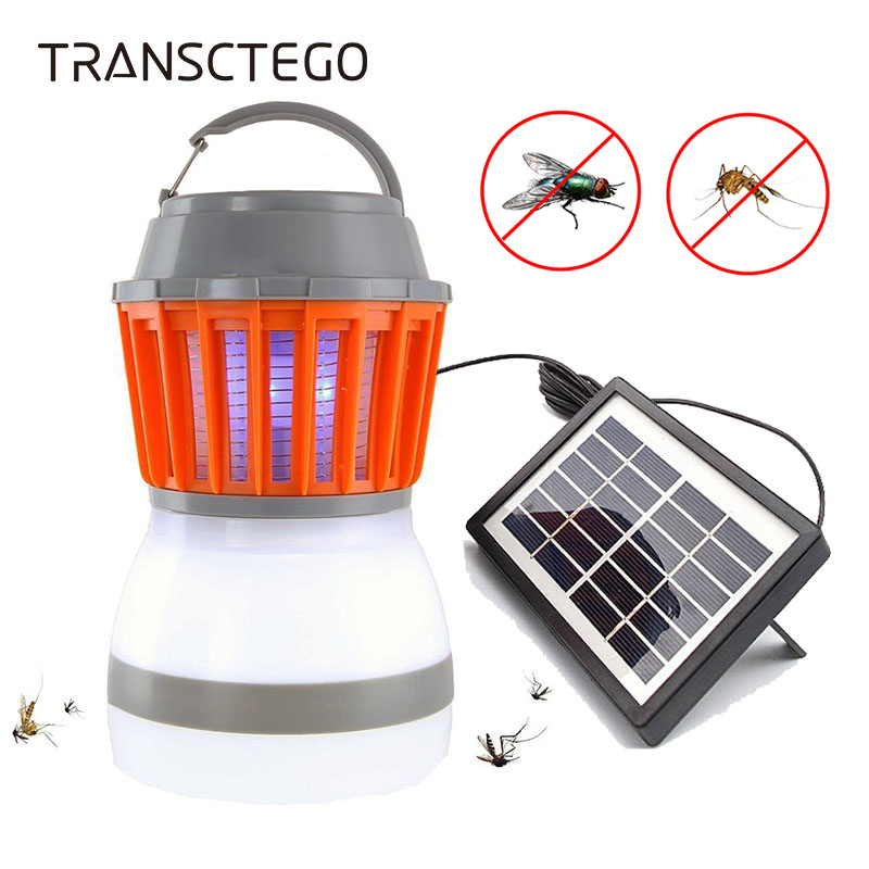 Solar Powered Mosquito Killer Lamp Bug Zapper Insect Killer Trap Lamp Outdoor Camping Lantern USB Anti Mosquito Fly Tent Light