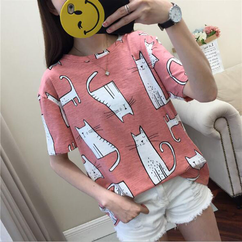 Cute Cartoon Cat Print T Shirt Women Spring Summer Short Sleeve Round Neck T-shirt Woman Casual Slim Fit T Shirts Women