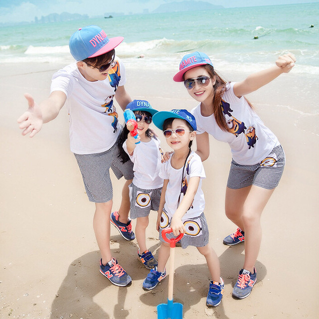 Family Clothes Sets New Summer Style Cotton Character Pattern Short-Sleeve Casual Family Set Clothes Free Shipping