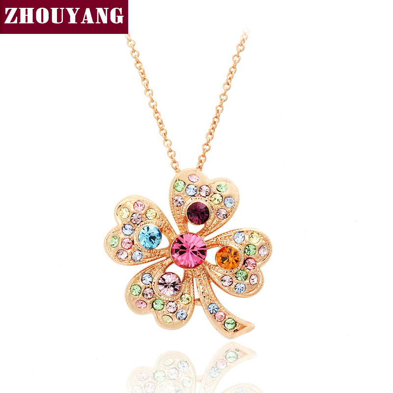 Top Quality ZYN029 Leaf Necklace Rose Gold Plated Fashion Pendant Jewelry Made with Austria Crystal Wholesale