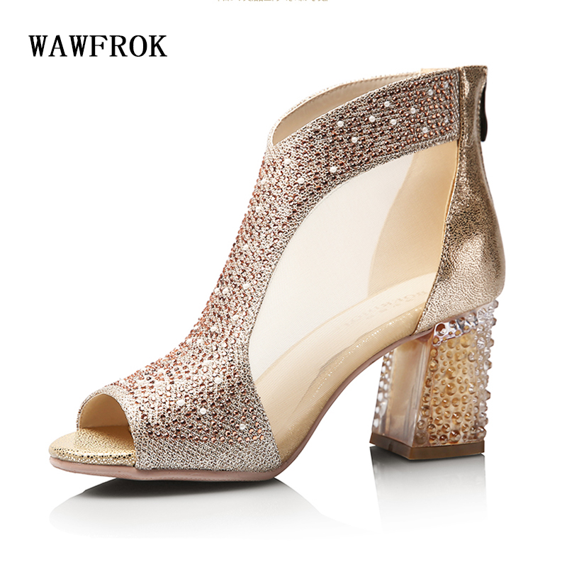 WAWFROK Women Sandals 2018 Summer High Heels Women Shoes Sandals Diamond Square Heel Wedding Shoes Fashion Bling 7cm