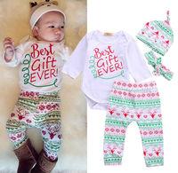 4PCS Set Baby Boy Girl Christmas Gift Outfits Romper Deer Pants Legging Clothes