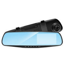 駆動レコーダー車 DVR カメラミラー 4.3 インチフル Hd 1080 P 170 ° 広角デュアルレンズ反転ビデオレコーダーサイクルビデオ