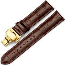 Neway Correa de Reloj Pulsera de Cuero 16mm 18mm 20mm 22mm 24mm Reemplazo de la Mariposa Broche de Oro pulsera de La Correa Negro Marrón